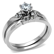 Load image into Gallery viewer, TK694 - High polished (no plating) Stainless Steel Ring with AAA Grade CZ  in Clear