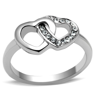 TK695 - High polished (no plating) Stainless Steel Ring with Top Grade Crystal  in Clear