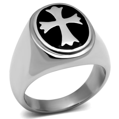 TK714 - High polished (no plating) Stainless Steel Ring with Epoxy  in Jet