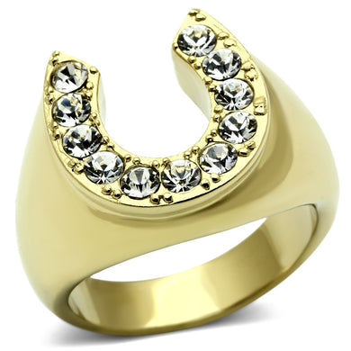 TK717 - IP Gold(Ion Plating) Stainless Steel Ring with Top Grade Crystal  in Clear