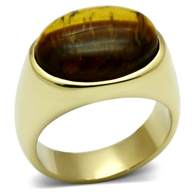 TK718 - IP Gold(Ion Plating) Stainless Steel Ring with Synthetic Tiger Eye in Topaz