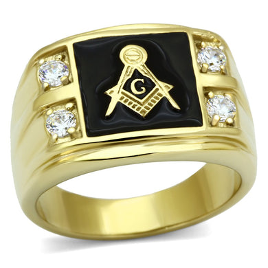 TK719 - IP Gold(Ion Plating) Stainless Steel Ring with AAA Grade CZ  in Clear