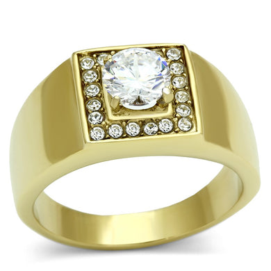 TK728 - IP Gold(Ion Plating) Stainless Steel Ring with AAA Grade CZ  in Clear