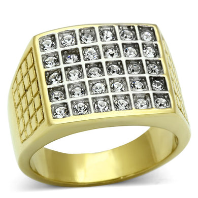 TK734 - Two-Tone IP Gold (Ion Plating) Stainless Steel Ring with Top Grade Crystal  in Clear