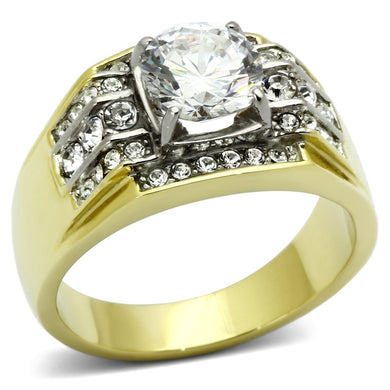 TK736 - Two-Tone IP Gold (Ion Plating) Stainless Steel Ring with AAA Grade CZ  in Clear