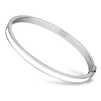 TK740 - High polished (no plating) Stainless Steel Bangle with Epoxy  in White