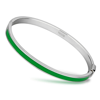 TK745 - High polished (no plating) Stainless Steel Bangle with Epoxy  in Emerald