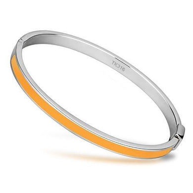 TK749 - High polished (no plating) Stainless Steel Bangle with Epoxy  in Topaz