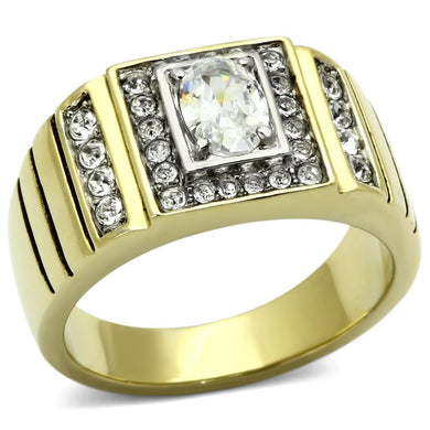 TK755 - Two-Tone IP Gold (Ion Plating) Stainless Steel Ring with AAA Grade CZ  in Clear