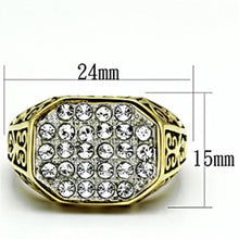 Load image into Gallery viewer, TK757 - Two-Tone IP Gold (Ion Plating) Stainless Steel Ring with Top Grade Crystal  in Clear