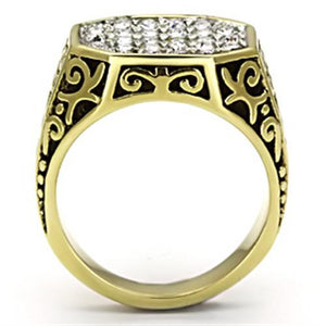 TK757 - Two-Tone IP Gold (Ion Plating) Stainless Steel Ring with Top Grade Crystal  in Clear