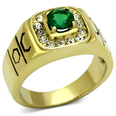 TK764 - IP Gold(Ion Plating) Stainless Steel Ring with Synthetic Synthetic Glass in Emerald