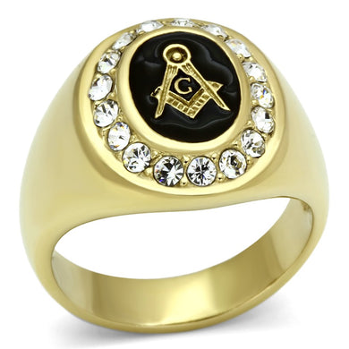 TK766 - IP Gold(Ion Plating) Stainless Steel Ring with Top Grade Crystal  in Clear