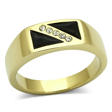 TK775 - IP Gold(Ion Plating) Stainless Steel Ring with Top Grade Crystal  in Clear