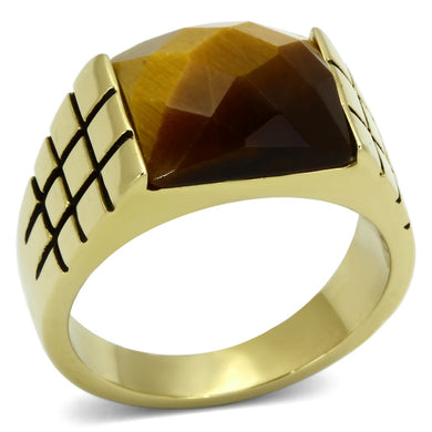 TK779 - IP Gold(Ion Plating) Stainless Steel Ring with Semi-Precious Tiger Eye in Topaz