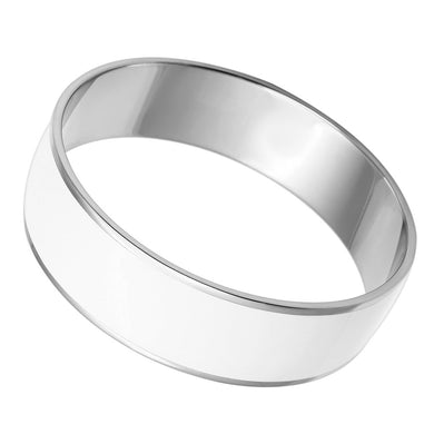 TK784 - High polished (no plating) Stainless Steel Bangle with Epoxy  in White