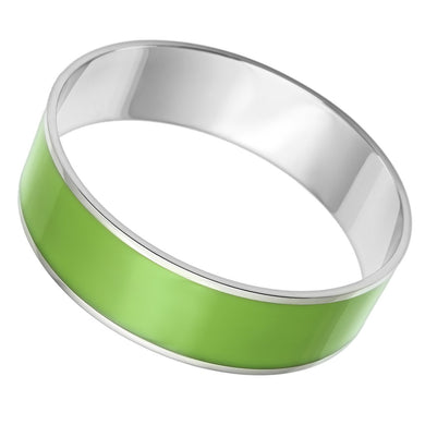 TK787 - High polished (no plating) Stainless Steel Bangle with Epoxy  in Emerald