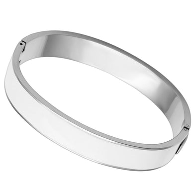 TK789 - High polished (no plating) Stainless Steel Bangle with Epoxy  in White