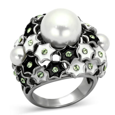 TK818 - High polished (no plating) Stainless Steel Ring with Synthetic Pearl in White