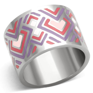 TK823 - High polished (no plating) Stainless Steel Ring with Epoxy  in Multi Color