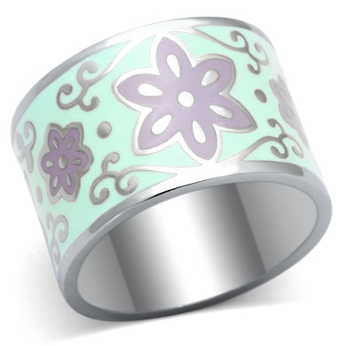 TK824 - High polished (no plating) Stainless Steel Ring with Epoxy  in Multi Color