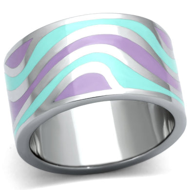 TK840 - High polished (no plating) Stainless Steel Ring with Epoxy  in Multi Color