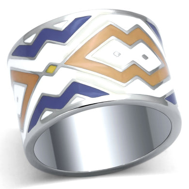 TK841 - High polished (no plating) Stainless Steel Ring with Epoxy  in Multi Color