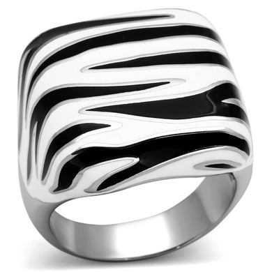 TK848 - High polished (no plating) Stainless Steel Ring with Epoxy  in Multi Color