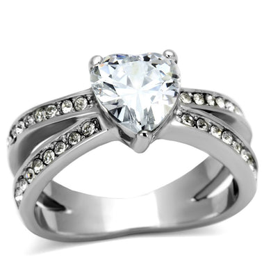 TK851 - High polished (no plating) Stainless Steel Ring with AAA Grade CZ  in Clear