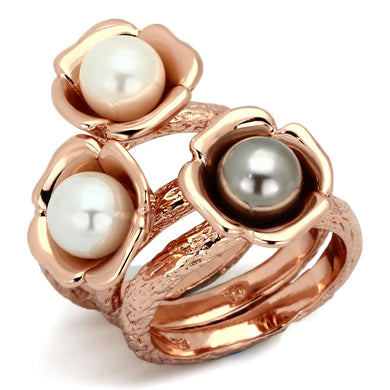 TK852 - IP Rose Gold(Ion Plating) Stainless Steel Ring with Synthetic Glass Bead in Multi Color