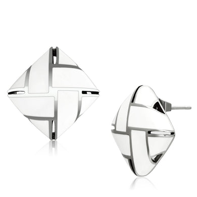 TK896 - High polished (no plating) Stainless Steel Earrings with Epoxy  in White