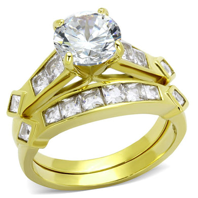 TK8X040 - IP Gold(Ion Plating) Stainless Steel Ring with AAA Grade CZ  in Clear