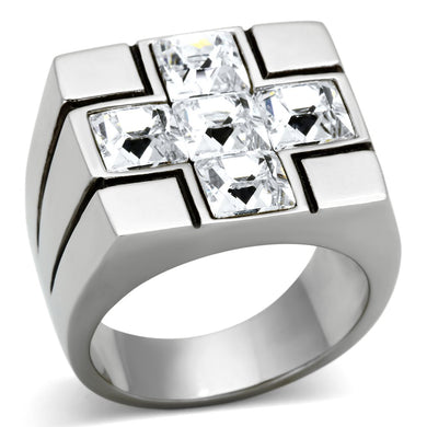 TK919 - High polished (no plating) Stainless Steel Ring with Top Grade Crystal  in Clear