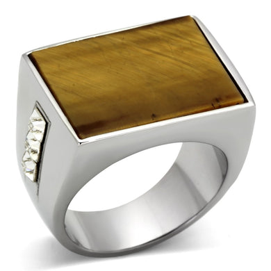 TK925 - High polished (no plating) Stainless Steel Ring with Synthetic Tiger Eye in Topaz