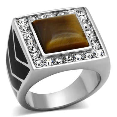 TK938 - High polished (no plating) Stainless Steel Ring with Synthetic Tiger Eye in Topaz