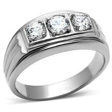 Load image into Gallery viewer, TK946 - High polished (no plating) Stainless Steel Ring with AAA Grade CZ  in Clear