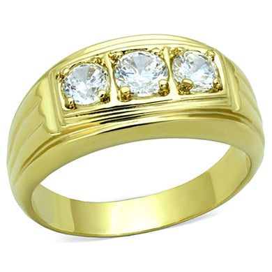 TK946G - IP Gold(Ion Plating) Stainless Steel Ring with AAA Grade CZ  in Clear