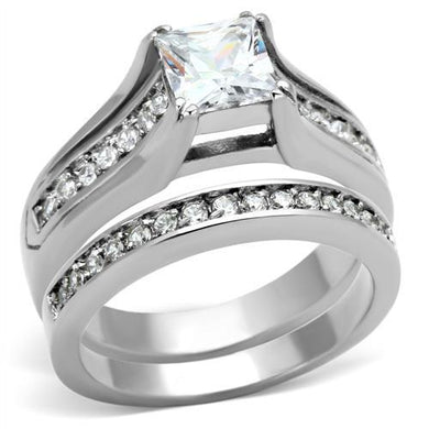 TK969 - High polished (no plating) Stainless Steel Ring with AAA Grade CZ  in Clear