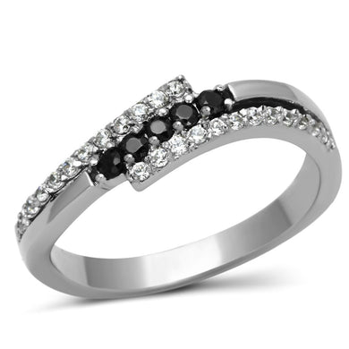 TK996 - High polished (no plating) Stainless Steel Ring with AAA Grade CZ  in Black Diamond