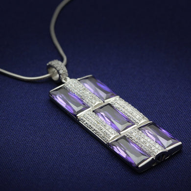 TS026 - Rhodium 925 Sterling Silver Chain Pendant with AAA Grade CZ  in Amethyst