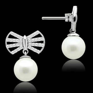TS063 - Rhodium 925 Sterling Silver Earrings with Synthetic Pearl in White