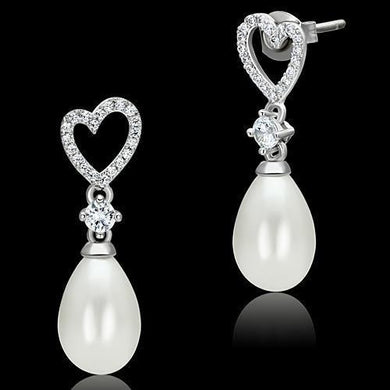 TS064 - Rhodium 925 Sterling Silver Earrings with Synthetic Pearl in White
