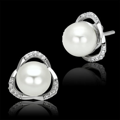 TS066 - Rhodium 925 Sterling Silver Earrings with Synthetic Pearl in White
