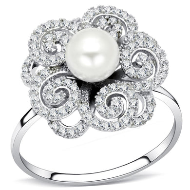 TS070 - Rhodium 925 Sterling Silver Ring with Synthetic Pearl in White