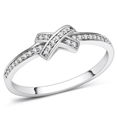 TS075 - Rhodium 925 Sterling Silver Ring with AAA Grade CZ  in Clear