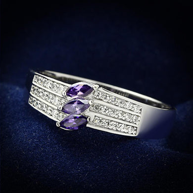 TS104 - Rhodium 925 Sterling Silver Ring with AAA Grade CZ  in Amethyst