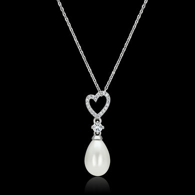 TS127 - Rhodium 925 Sterling Silver Necklace with Synthetic Pearl in White
