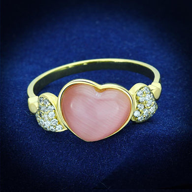 TS136 - Gold 925 Sterling Silver Ring with Synthetic Cat Eye in Rose