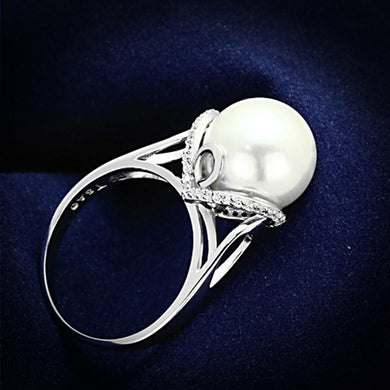 TS154 - Rhodium 925 Sterling Silver Ring with Synthetic Pearl in White