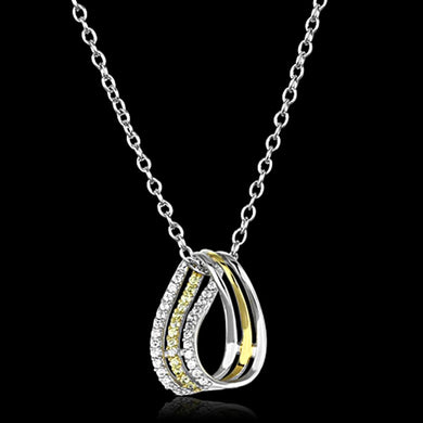 TS157 - Gold+Rhodium 925 Sterling Silver Chain Pendant with AAA Grade CZ  in Topaz